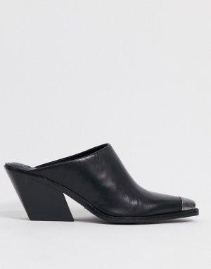 Черные кожаные мюли в стиле вестерн BRONX-Черный цвет Bronx