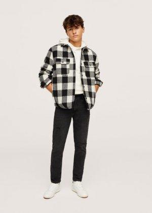 Нарочно рваные джинсы slim-fit - Slimrtb Mango. Цвет: черный деним