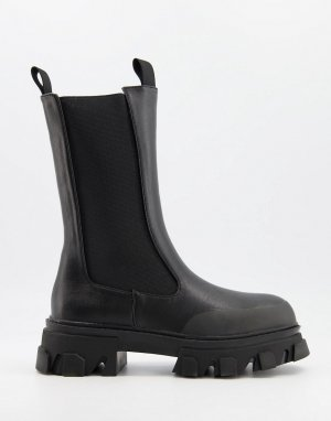 Черные ботинки челси на массивной подошве Boston-Черный цвет Public Desire