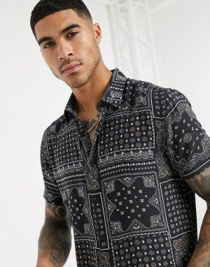 Черная рубашка с короткими рукавами и платочным принтом -Черный New Look