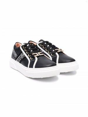 TEEN lace-up leather sneakers Elisabetta Franchi La Mia Bambina. Цвет: черный