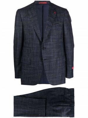 Клетчатый костюм с однобортным пиджаком Isaia. Цвет: синий