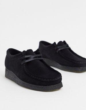 Черные замшевые туфли на плоской подошве -Черный цвет Clarks Originals