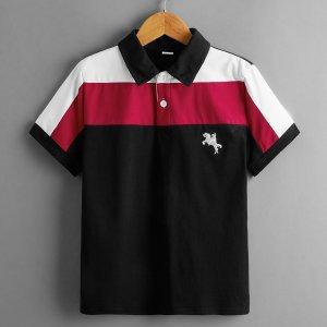 Контрастная рубашка-поло с вышивкой для мальчиков SHEIN. Цвет: многоцветный