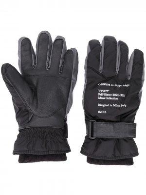 Logo-print padded gloves Off-White. Цвет: черный