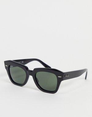 Женские солнцезащитные очки черного цвета в прямоугольной оправе -Черный цвет Ray-Ban