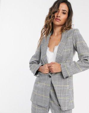 Светлый пиджак в клетку -Серый Closet London