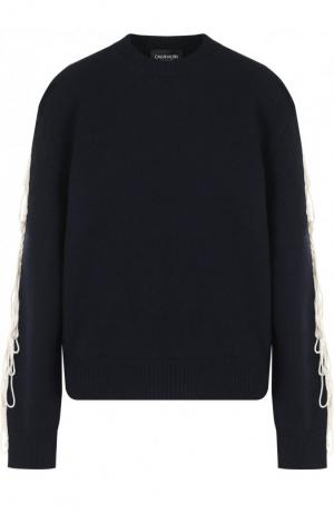 Шерстяной пуловер с контрастной отделкой CALVIN KLEIN 205W39NYC. Цвет: темно-синий