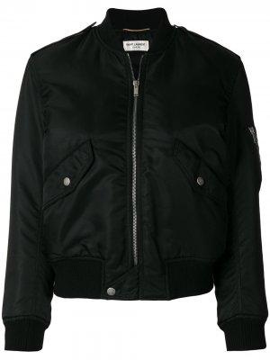 Классическая куртка-бомбер на молнии Saint Laurent. Цвет: черный