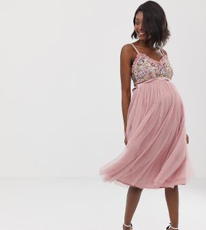 Платье миди на бретельках с декорированным топом и юбкой из тюля винтажно-розового цвета -Розовый Maya Maternity