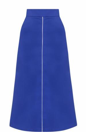 Хлопковая расклешенная юбка-миди Walk of Shame. Цвет: синий