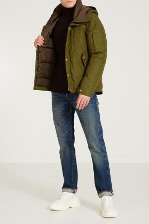 Зеленая куртка с широким капюшоном Gucci. Цвет: multicolor