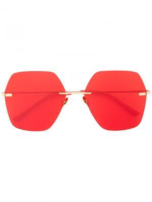 Солнцезащитные очки в шестиугольной оправе Spektre. Цвет: красный