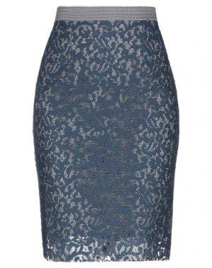 Юбка до колена EMMA & GAIA. Цвет: темно-синий