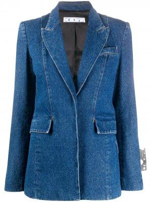 Приталенная джинсовая куртка Off-White. Цвет: синий