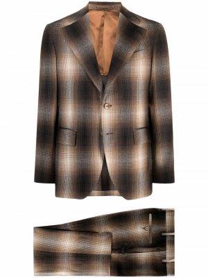 Клетчатый костюм с однобортным пиджаком Gabriele Pasini. Цвет: коричневый