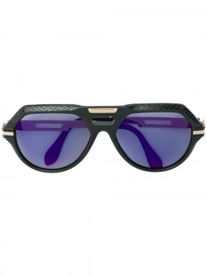 Солнцезащитные очки в крупной оправе с кожаной отделкой Cazal. Цвет: черный