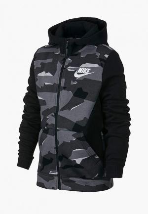 Толстовка Nike B NSW FZ CLUB AOP. Цвет: серый