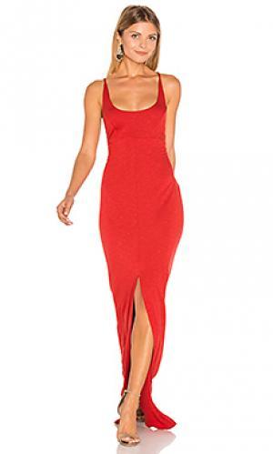 Макси платье с перекрестными шлейками сзади Lanston. Цвет: красный