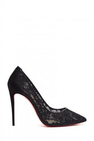 Черные кружевные туфли Follies Lace 100 Christian Louboutin. Цвет: черный