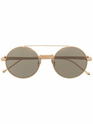 Солнцезащитные очки Pasha в круглой оправе Cartier Eyewear. Цвет: золотистый