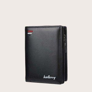 Маленький кошелек для мужчин с буквой SHEIN. Цвет: чёрный