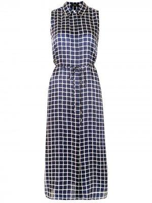 Square-pattern sleeveless dress Theory. Цвет: синий