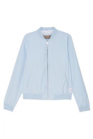 Голубая куртка-бомбер Calvin Klein. Цвет: голубой