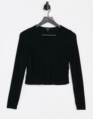 Черный укороченный лонгслив с круглым вырезом -Черный цвет Monki
