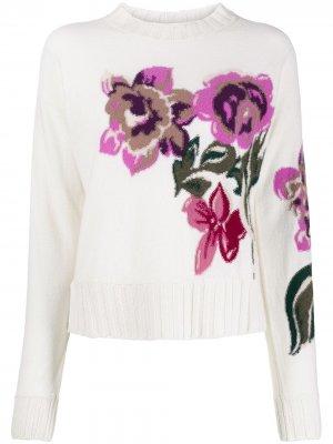 Джемпер с цветочной вышивкой Ballantyne. Цвет: белый