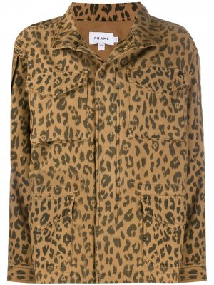 Куртка с карманами и анималистичным принтом FRAME. Цвет: коричневый