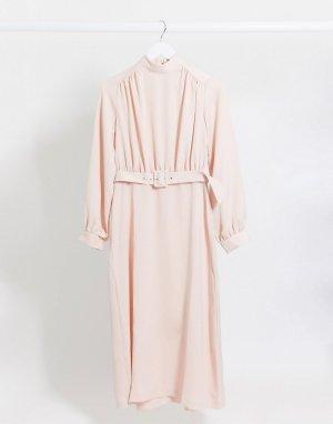Платье миди с высоким воротником и поясом -Розовый Closet London