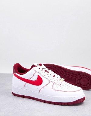 Бело-красные кроссовки с 1 логотипом-галочкой в честь 50-летия Air Force 07-Белый Nike