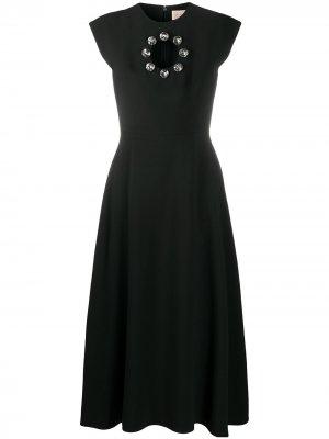 Платье с кристаллами и вырезом Christopher Kane. Цвет: черный