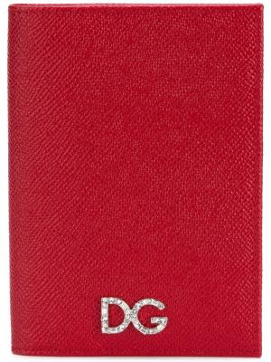 Обложка для паспорта с логотипом Dolce & Gabbana. Цвет: красный