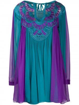 Короткое платье с контрастными вставками и вышивкой Alberta Ferretti. Цвет: фиолетовый