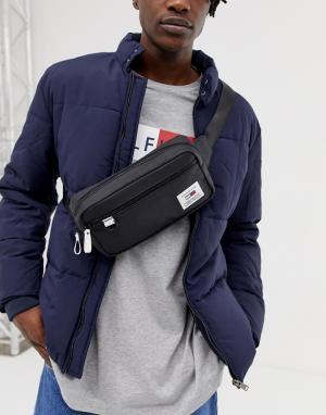 Черная сумка-кошелек на пояс с логотипом и контрастной отделкой Tommy Jeans. Цвет: черный
