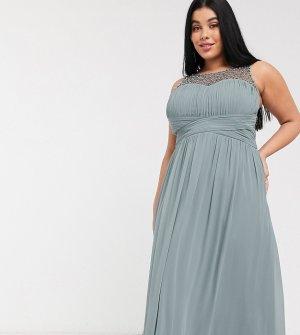 Серое платье макси с декорированным топом -Серый Little Mistress Plus