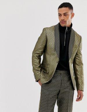 Узкая куртка с золотистой отделкой -Золотистый ASOS DESIGN