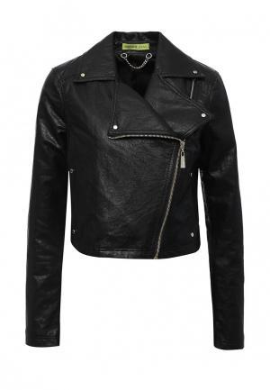Куртка кожаная Versace Jeans VE006EWQFI45. Цвет: черный