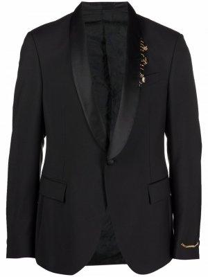 Пиджак с лацканами-шалькой Versace. Цвет: черный