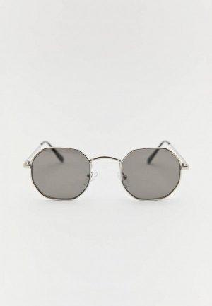 Очки солнцезащитные Pull&Bear. Цвет: серебряный