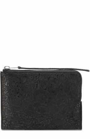 Кожаный футляр для документов на молнии Rick Owens. Цвет: черный