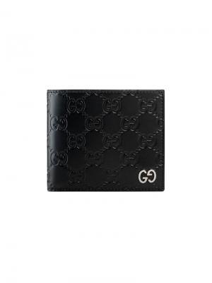 Кошелек Signature с отделением для монет Gucci. Цвет: черный