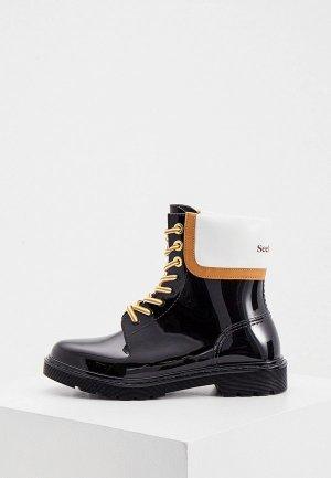 Резиновые ботинки See by Chloe. Цвет: черный