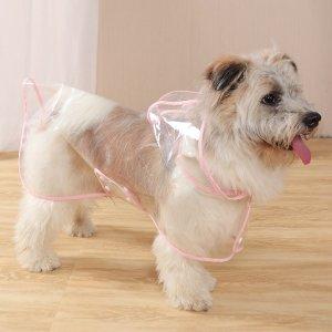 1шт Прозрачный дождевик для домашних животных SHEIN. Цвет: розовые