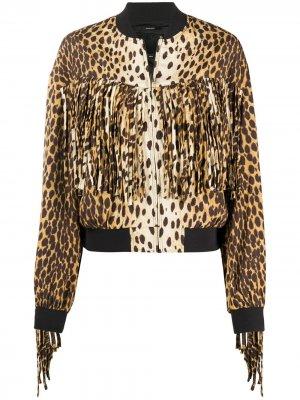 Куртка-бомбер с принтом R13. Цвет: коричневый