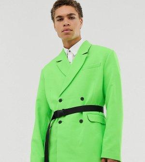 Зеленый oversize-блейзер с поясом COLLUSION