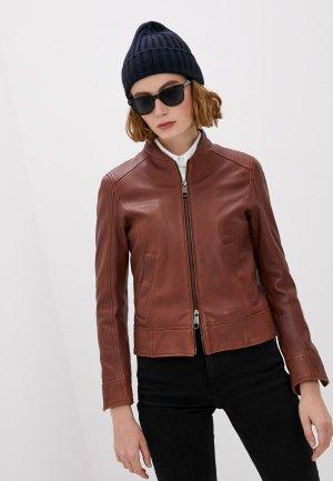 Куртка кожаная Boss C_Sameggy. Цвет: коричневый