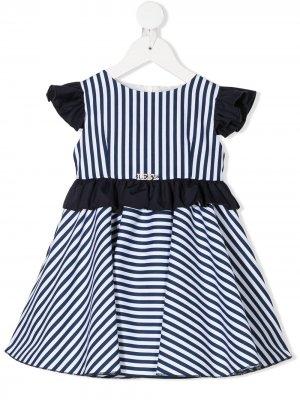 Платье А-силуэта в полоску с оборками Lesy. Цвет: синий